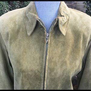 Suede Dress - Forest Green - Vakko Sport - Leather